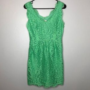 Jade green lace v neck dress
